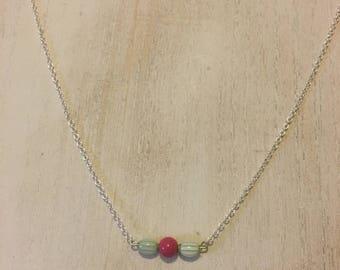 Vintage Green/White Striped & Fuchsia Bead Bar Necklace