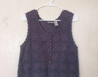 Vintage Button Down Knit Top size M-L