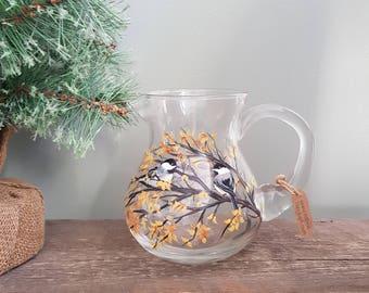 Chickadees - Handpainted Glass Pitcher