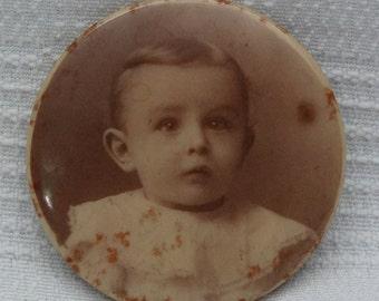 Antique Sepia Child Portrait Pinback-Early 1900's
