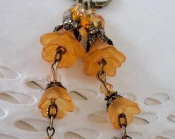 Lucite flower earrings, victorian earrings, boho earrings, yellow earrings, hanging earrings, earrings gift