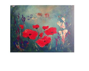 Red Poppies at Dawn landscape spring Acrylic painting on canvas