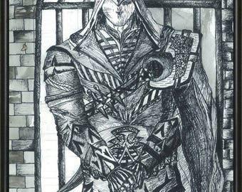 orignal handmade drawing From Assassin's Creed,ooak fan-art, assassins, Video Game graphic art, wall art,Ezio,warrior,print,handmade item
