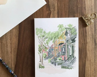 The Plateau, Montreal - 7 x 5 greeting card - print