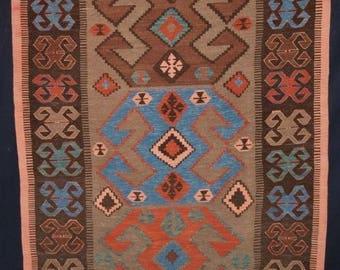 Old Turkish Konya region kilim, South West Anatolia, bold design, circa 1960