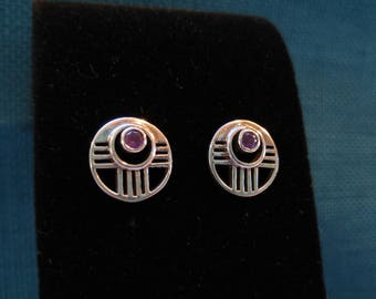 Silver and Amethyst Zia Earrings- Southwestern Jewelry- Santa Fe Style-  Sun Jewelry- Small Earrings- Sterling Earrings - New Mexico Style