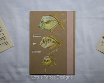 Handmade Blank Greeting Card (Folded A6) - Moonfish & Lookdown - Golden Guide to FISHES