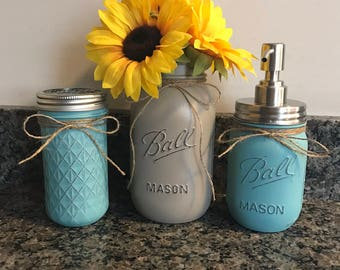 3 Piece Bathroom Mason Jar Set
