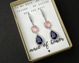 Wedding Jewelry Bridesmaid Earrings Jewelry Pink peach coral Earrings Sapphire Navy Blue Gold Teardrop Bridal Earrings bridesmaid gift set 6