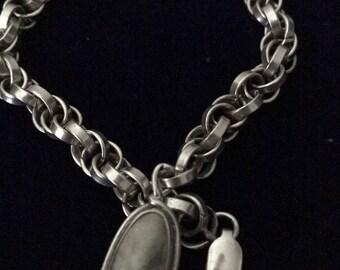 Sterling Silver Bracelet with Jasper Charm