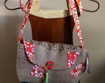Re-purposed Coffee Bag Purse or Cluth, Orange/White