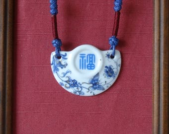 knotted  ceramic necklace with Chinese character of fortune/luck/happiness