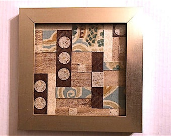 Abstract Geometric Circle Textured Paper and Fabric Collage Art (with Frame)