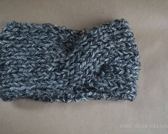 Chunky Knit Turban Ear Warmer Headband in Marled Gray