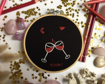 Wine Glasses Embroidery