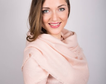Boho Scarf for Women, Great Gift, Gift For Her, Soft Light Pink, Oversized Large Winter Scarves, Pink Scarf