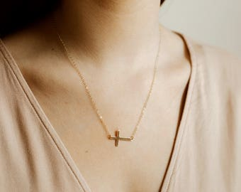 Sideways Cross Necklace- 14k gold filled necklace