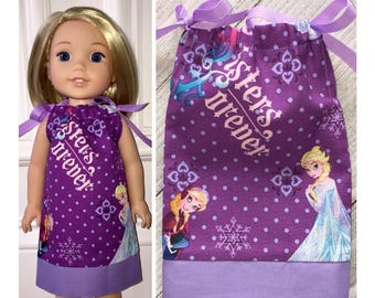 """14.5"""" Doll Clothes/Wellie Wishers Doll Clothes/American Girl/Doll Pillowcase Dress/Wellie Wishers Frozen"""