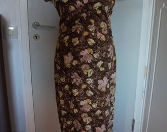 Gorgeous brown 1950's / 1960's flower dress