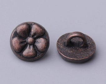 10*6mm 10pcs flower button fashion round copper button zinc alloy shank button