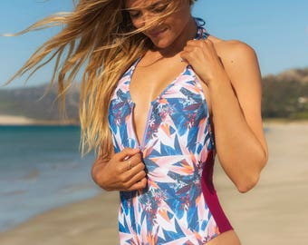 Swimsuit one piece tropical
