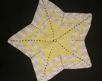Yellow Star Tummy-Time Baby Blanket