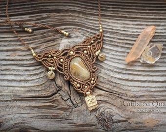 OOAK Macrame necklace with Rutilated Quartz