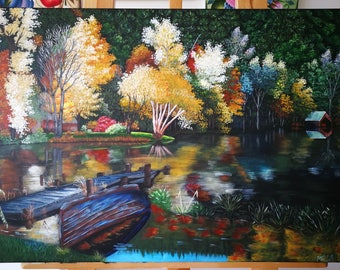 Black Lake In The Autumn Acrylic Painting On Canvas