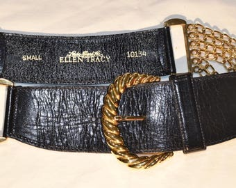 Vintage Linda Allard for Ellen Tracy Leather and Chain Belt sz Small S