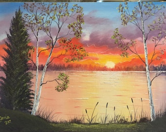 Oil Painting on Canvas. Birch trees, lake and sunset. (Sunset at the Lake)
