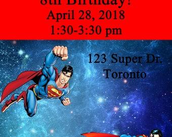 Superman Birthday Invitation, Printable, Custom, Digital File