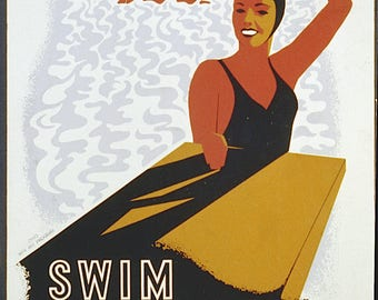 SWIM FOR HEALTH - vintage swimming poster reproduction - cool retro graphic image - available in A4, A3 or A2 - free postage in Australia