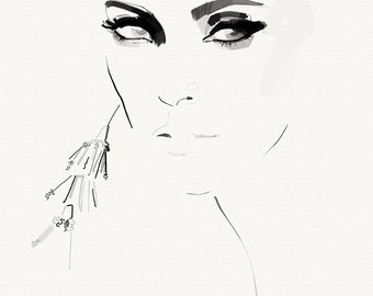 Iconic fashion illustration, inspired by the supermodel look in the ninetees.
