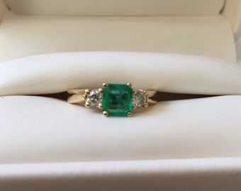Deep Green Emerald Ring - 14k Yellow Gold Ring