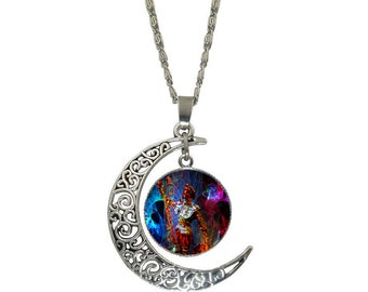DON QUIXOTE DREAMS-Art,Jewelry,Necklaces,Man,Horse,Medieval,Warrior, Armor,Conqueror,Blue.Visionary,Silver.Bronze,Fantastic,Amazing,Symbols.