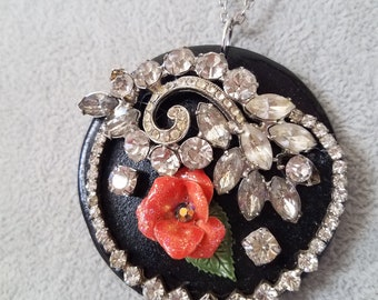 Assemblage Necklace-Flower and Rhinestones #18