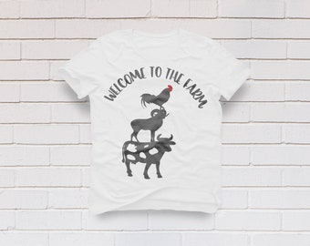Farmhouse svg, Welcome to the farm svg, Farm house svg, Welcome svg, Farm svg, Cow svg, Goat svg, Farmer svg, SVG, DXF, eps, png, pdf, Shirt