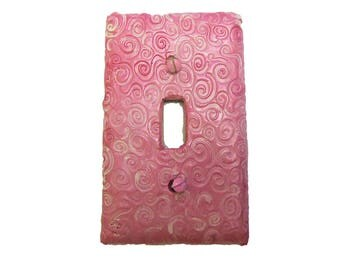 Pink Swirls Decorative Switch Plate Clay - Girls kids room switchplate -Polymer clay switch plate cover