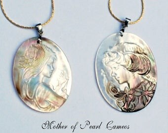Mother of Pearl cameo pendants with handmade 14K gold plated tubular chains, 30x40mm boy or girl cameo pendants, .925 sterling silver bails