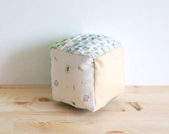 Large soft baby block, rattle block, sensory block, fabric block - green and beige
