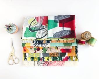 Vintage 50's Fabric Remnant Bundle- Fifties Atomic - Patchwork
