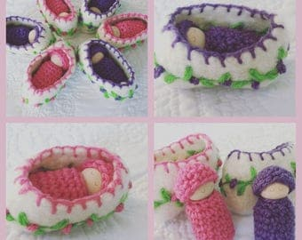 Peg doll in wool cradle Waldorf toy baby doll in cradle ready to ship pink or purple