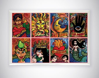 Mexican Loteria Cards Kitchen Magnet for Refrigerator - Sun and Moon, Mermaid Home Decor by Artist Cindy Couling