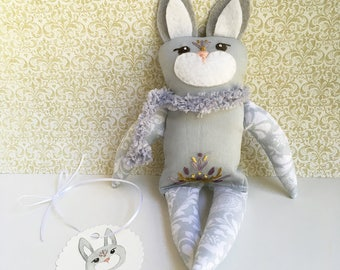 SALE! Hand Embroidered woodland spirit animal bunny rabbit doll Bela