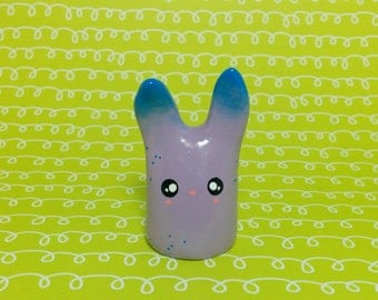 Speckled Lavender Bunny - Clay Figurine