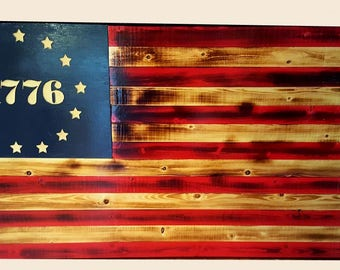 Betsy Ross, Wood Flag, American Flag, Made By Vet, Wall Hanging,  Handmade Flag, Home Decor, Office Decor, 1776, Winjimir, Wall Decor, Art,