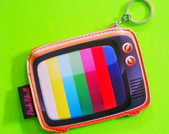 Electro Rad Television Test Pattern Cassette Mix Tape Retro Rumpus Room Zippered Pouch Wallet Bonded Vinyl Coin Purse - More Styles