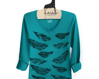 SALE Small - Dark Teal Long Sleeve fitted V Tee with Henna Feathers Screen Print