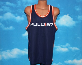 Polo Sport Ralph Lauren Tank Top Mesh Basketball Jersey Large Vintage 1990s