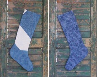 Primitive Christmas Stocking, Farmhouse Decor, Antique Quilt Rustic Stocking, Log Cabin Decor, Blue & White - CIJ SALE
